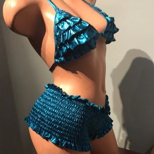 Swim - Blue metallic ruffle bikini swimsuit rave scrunch